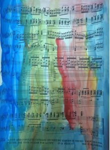 A watercolor piece of sheet music from the Epic banquet